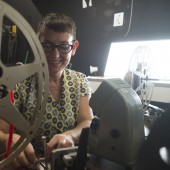 Image of Tish Stringer working with celluloid film